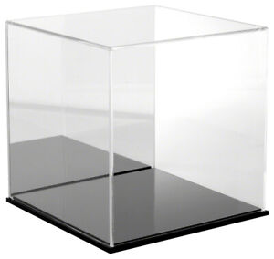 Plymor Acrylic Display Case With Black Base mirror Back 12 X 12 X 12