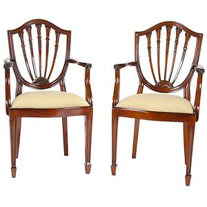 Ndrac018 Niagara Furniture Pair Solid Mahogany Shield Back Arm Chairs