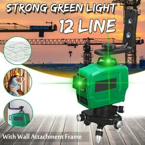 3d 12 Line Green Laser Level 360 Rotating Measure Self leveling W Wall Frame