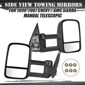 Left Right Side View Black Tow Mirrors 99 07 Fit Chevy Silverado Gmc 1500 2500