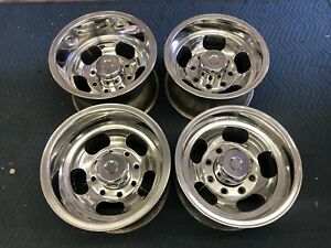 Set Of Vintage 8 lug 15x8x10 Polished Slot Mag Wheels Ford Chevy Dodge Gmc Van
