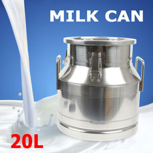 20l Stainless Steel Milk Can Wine Pail Bucket Tote Jug Oil Barrel Tea Canister