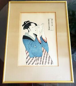 Antique 19th C Framed Under Glass Utamaro Japanese Woodblock Woman