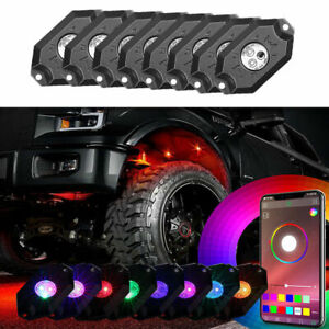 8pcs Pods Rgb Led Rock Light Kit Underbody Bluetooth Wireless Music Controller