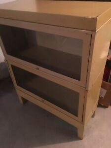 Detroit Arsenal Mid Century Modern Industrial Glass And Metal Barrister Bookcase