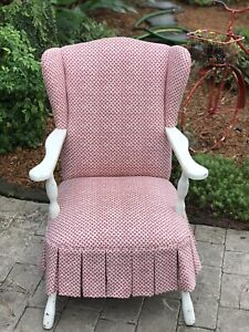 Shabby Chic Off White French Country Custom Upholstered Wing Back Arm Chair