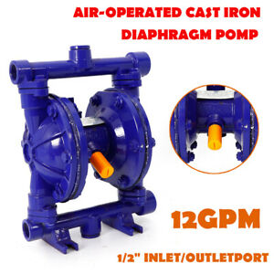 Air operated Double Diaphragm Pump Cast Iron 12 Gpm 1 2 Inlet outlet 115psi Top