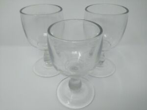 3 Large Antique Thick Crystal Wine Port Sherry Drinking Glasses