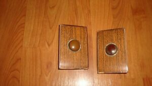 2 Vintage Honeywell Tap Lite Wall Light Push Button Switches With Wood Plate