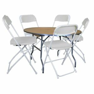5 White Plastic Folding Chair 36 Round Table Wedding Office Banquet Furniture