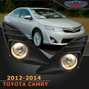 Fit Toyota Camry 12 14 Clear Lens Pair Oe Fog Light Lamp wiring switch Kit Dot