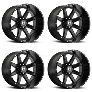 22x10 Full Black Wheels Hostile H109 Alpha 8x170 25 set Of 4