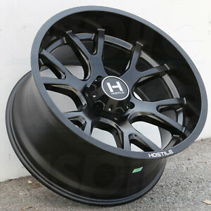 22x10 Full Black Wheels Hostile H113 Rage 8x180 25 set Of 4