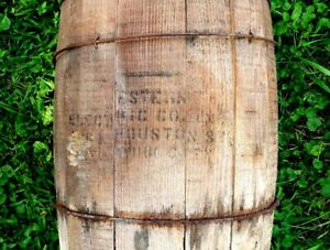 Antique Rare Stamped Western Electric Co Primitive Wooden Nail Keg Country Farm