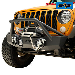 Eag Front Bumper Stubby With Fog Light Housing Fit For 18 19 Jeep Jl Wrangler