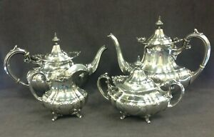 Reed And Barton Hampton Court 4 Piece Sterling Silver Coffee And Tea Set