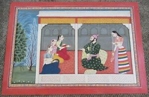 Fine Vintage Indian Miniature Kangra Painting Sikh Ruler And Ladies Exquisite