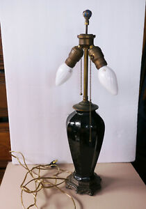 Antique Black Glass And Metal 2 Bulb Table Lamp No Shade Works Glass Finial