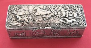 Lg Continental Silver Snuff Tobacco Cigar Box Horse Riding Stag Hunting Dogs