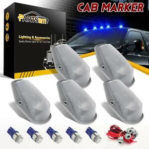 5x Cab Roof Clearance 15442 Clear Lights 194 Blue Led Bulbs For Ford t10 Harness