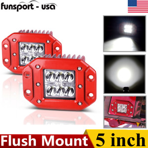Red 5inch 36w Led Work Light Bar Square Spot Offroad Reverse Flush Mount Pods