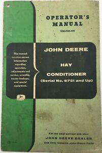 John Deere Hay Conditioner Sn 6751 Up Operator s Manual Om h60 458 Rare Vg
