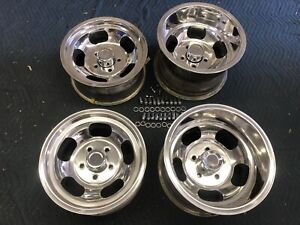 Vintage Set 15x10 7 Us Indy Mag Style Polished 5on5 Chevy C 10 Truck Blazer