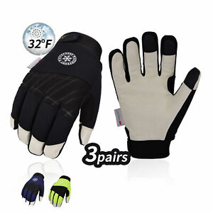 Vgo 1pair 3pairs 3m Thinsulate Leather Waterproof Winter Work Gloves pa1016fw