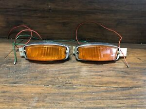 Vintage Mg Original Oem Pair Of Lucas L838 Side Marker Amber Lens