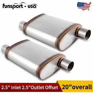 2pcs 2 5 Inch Inlet outlet Racing Exhaust Muffler 2 Chamber Resonator Silencer
