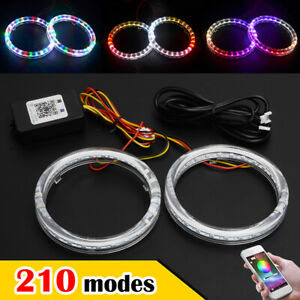 2x 80mm Rgb Drl Cob Led Angel Eye Lights Halo Rings Phone App Control Headlight