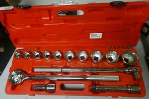 14 Pc 3 4 Drive Sae Socket Ratchet Set 12 Point Chrome Vanadium
