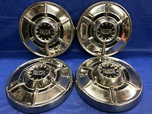 Vintage Set Of Four 1964 65 Ford Falcon Dog Dish Hubcap Good Condition