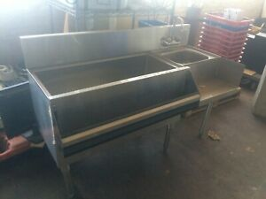 Stainless Steel Underbar Ice Bin W sink 53 W