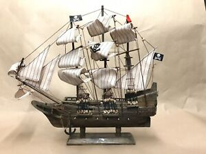 Antique Wooden Model Pirate Ship 16