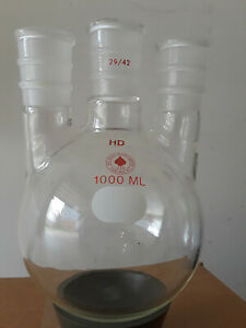 Round Bottom 3 neck Flask 1l 29 42 Joints Ace Glass Heavy Wall Three Neck