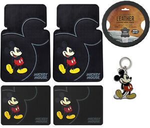 6pc Mickey Mouse Classic All Weather Floor Mats Steering Wheel Cover Gift Set