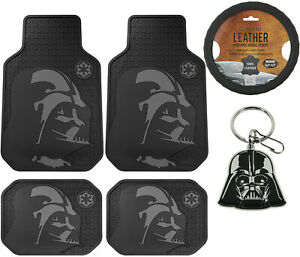 6pc Star Wars Darth Vader All Weather Floor Mats Steering Wheel Cover Gift Set