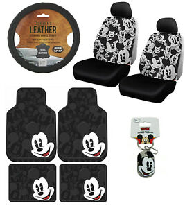 New 12pc Mickey Mouse Car Floor Mats Seat Covers Steering Wheel Cover Gift Set