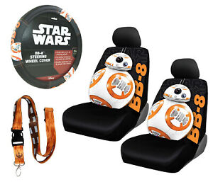 New 6pc Star Wars Bb 8 Robot Car Seat Covers Steering Wheel Cover Lanyard Set