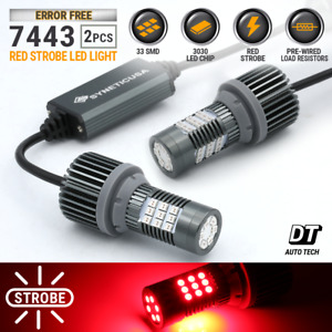 Syneticusa Canbus Error Free 7443 Red Led Strobe Flash Brake Tail Light Bulbs
