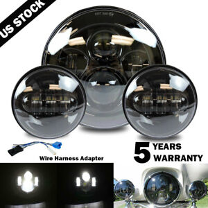 New 7 Led Projector Headlight Passing Lights Fit For Harley Touring Black