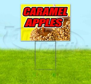 Caramel Apples Yard Sign Corrugated Plastic Bandit Lawn Decorations Usa