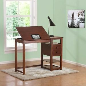 Dorel Living Counter Height Drawing Table With Storage In Walnut