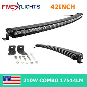 37inch Curved Led Light Bar 180w Offroad Slim Single Row Combo Offroad Rzr 38 40