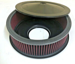 14 X 5 Black Air Cleaner Flat Base Red Washable Filter Chevy Ford Street Rod