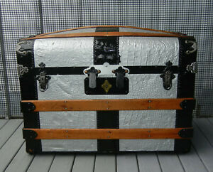 Smaller Antique Steamer Travel Trunk Tray Compartments Late 1800s Refurbished