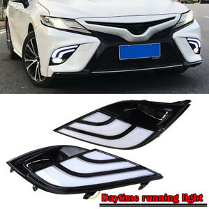 For 18 19 Toyota Camry Se Xse White Amber Front Bumper Led Drl Fog Light Cover