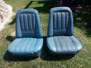 73 75 Chevy Gmc Truck Blazer Bucket Seat Oem Blue Color Pair
