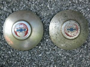 Vintage Oem Chevrolet Dog Dish Hubcaps Set Of 2 Hub Caps Chevy 1949 1950